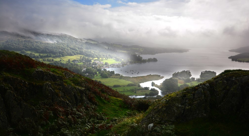 View from Loughrigg over a misty Windermere