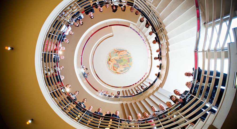 Wedding guests on the Midland Hotel staircase