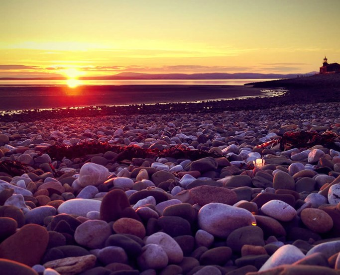 Sunset view from Morecambe Bay beach