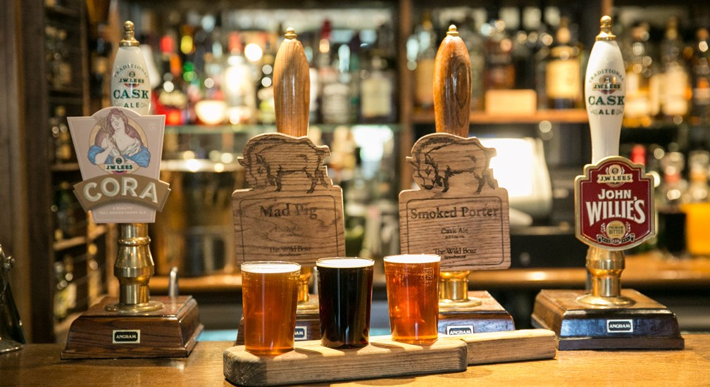 Selection of onsite brewed ales at The Wild Boar