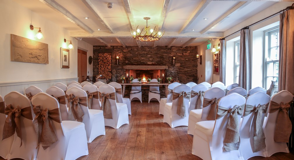 Wedding set up in the Undermill Beck room at The Wild Boar