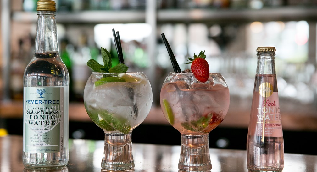 A selection of Gin and Tonics available at the Waterhead Hotel, Ambleside