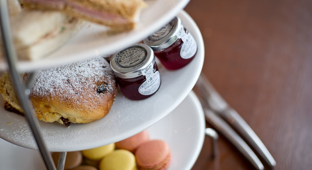 Close up of the delicacies included with Afternoon Tea at the Waterhead hotel, Ambleside