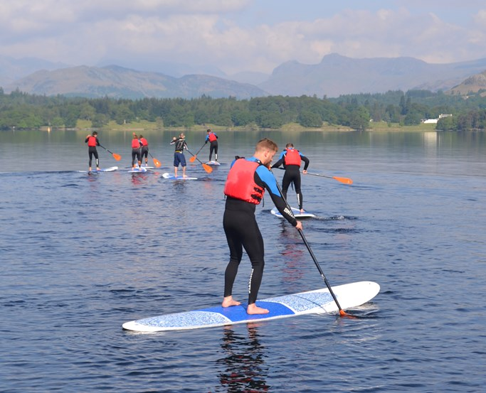 Group of paddle boarders on Lake Windermere