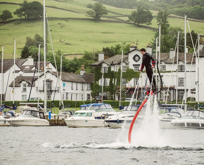 Flyboarding at Low Wood Bay Watersports
