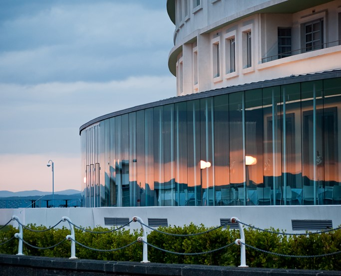 The 4* Midland Hotel in Morecambe at sunset