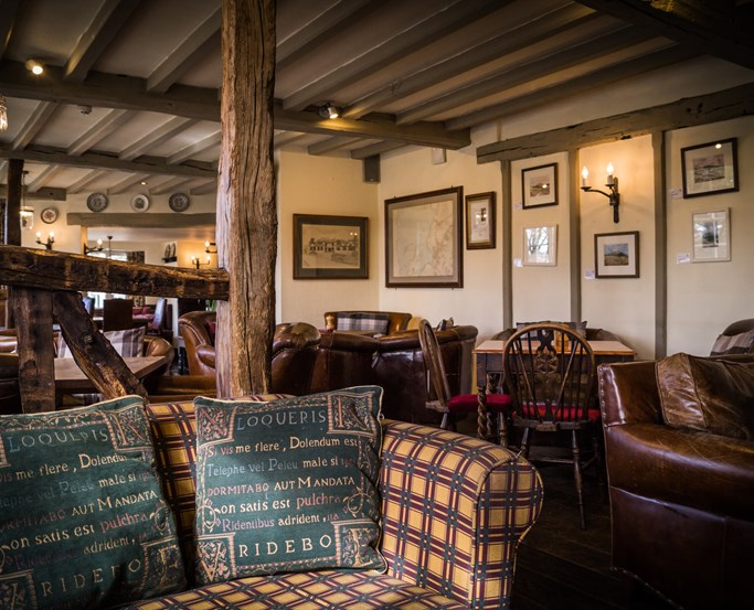 The cosy lounge at The Wild Boar, near Windermere