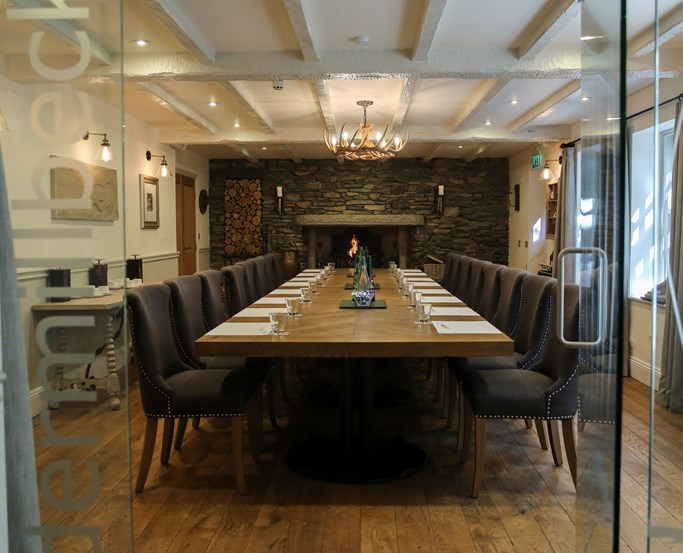 A meeting setup in the Undermillbeck room at The Wild Boar