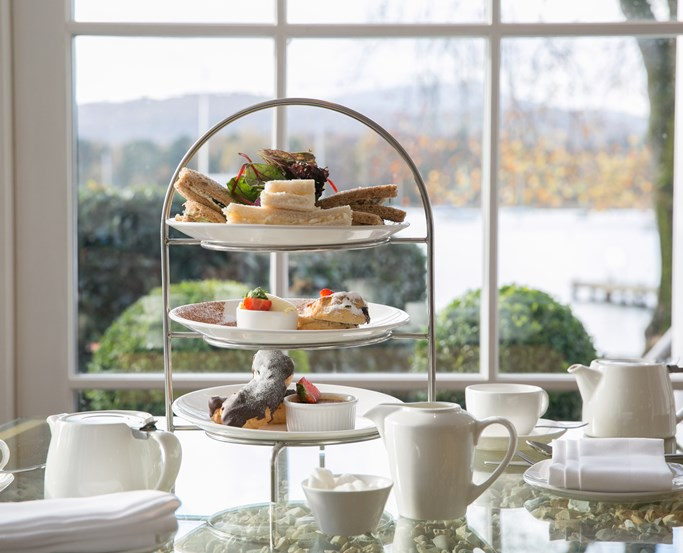 Afternoon Tea presentation with lake backdrop from the Waterhead, Ambleside