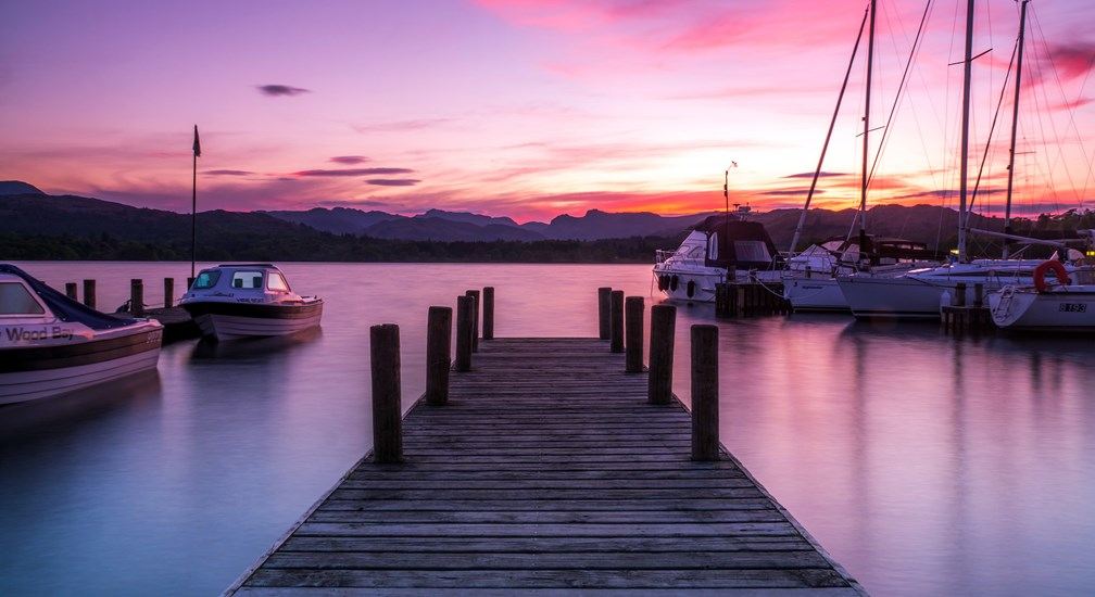 Dramatic sunset over lake Windermere from Low Wood Bay