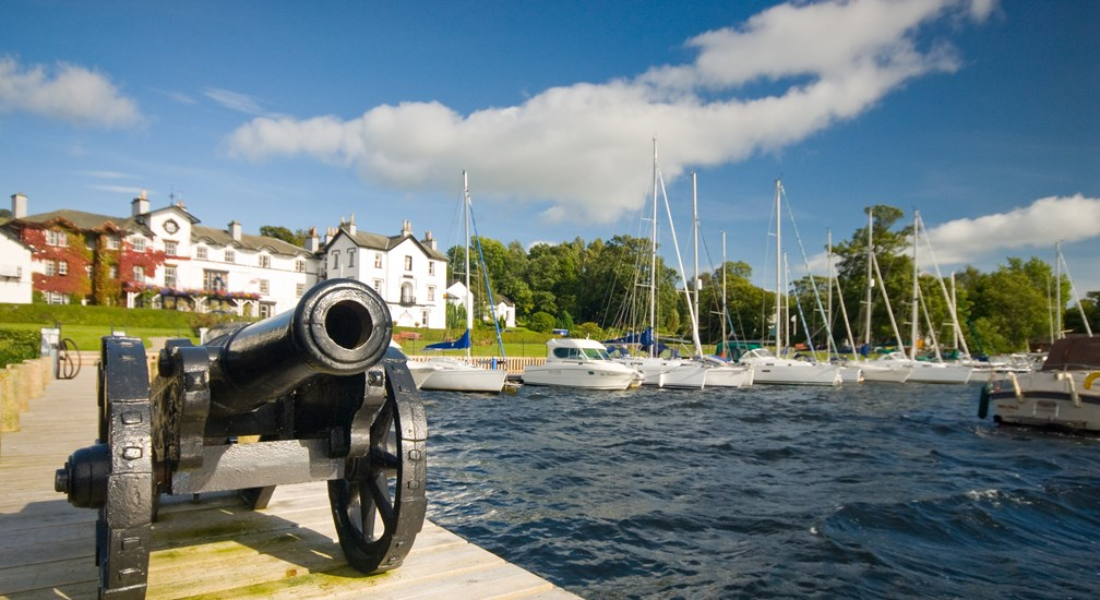 Canon on Jetty and Low Wood Bay Hotel behind