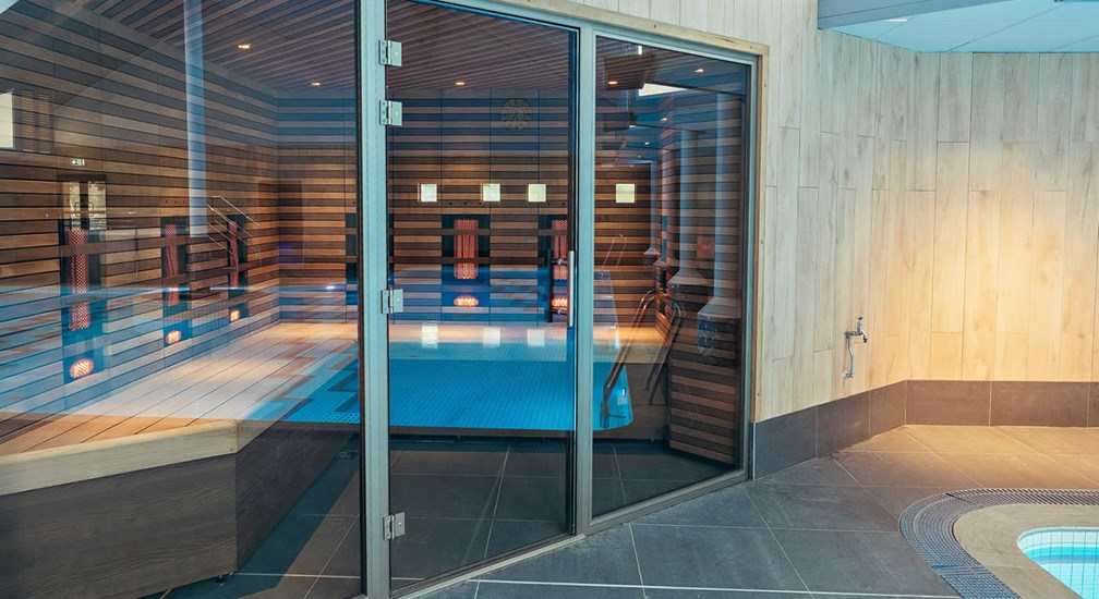 The pool side sauna at The Health Club at Low Wood Bay