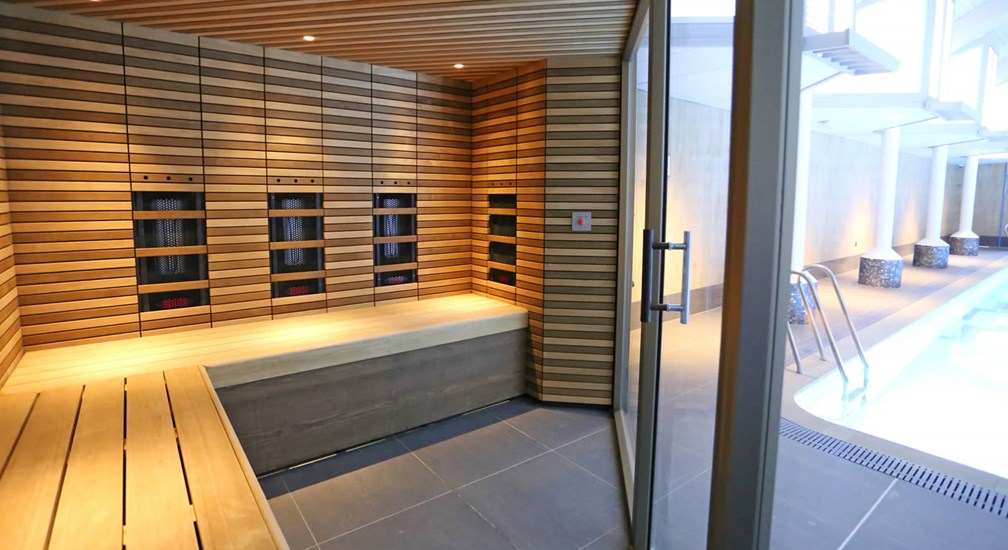 The poolside sauna at The Health Club at Low Wood Bay