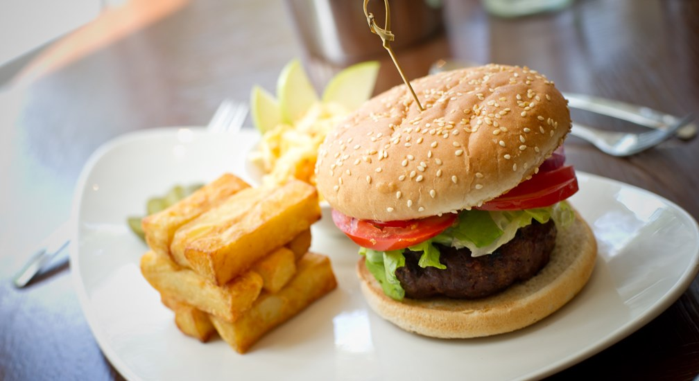The Bar & Grill Menu - Burger, Chips and Side Salad