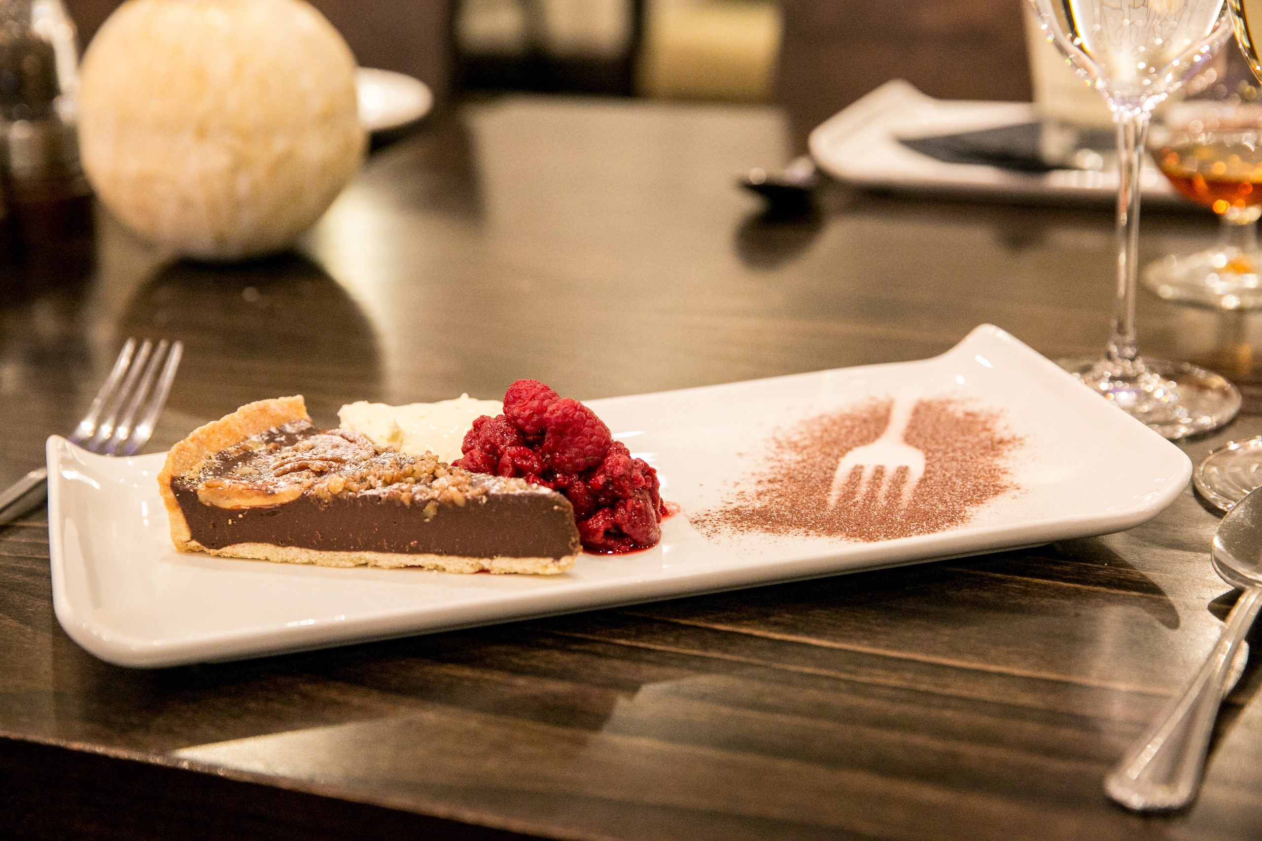 Pecan Pie with Raspberries - The Foodworks Restaurant menu