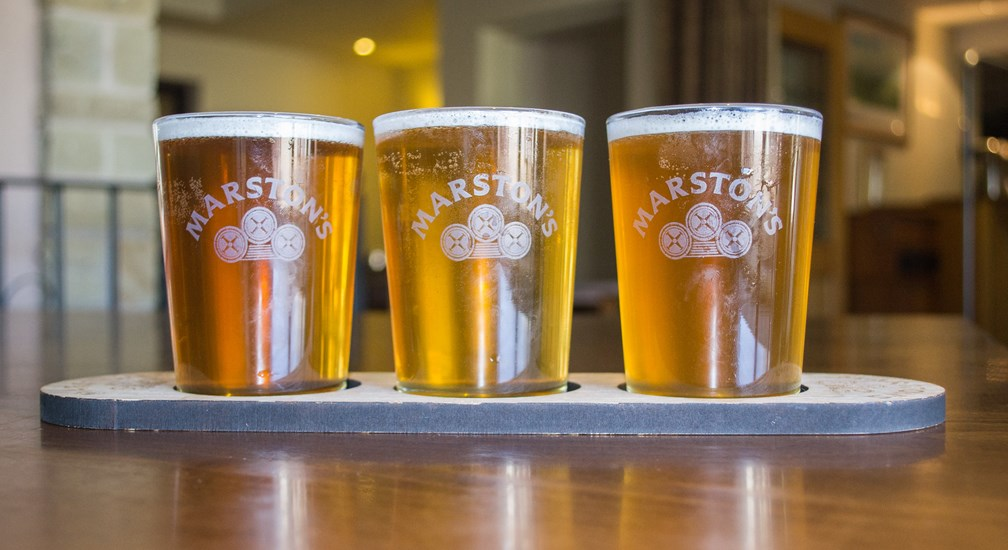 Trio of Marstons on a Paddle - The Sandemans Bar