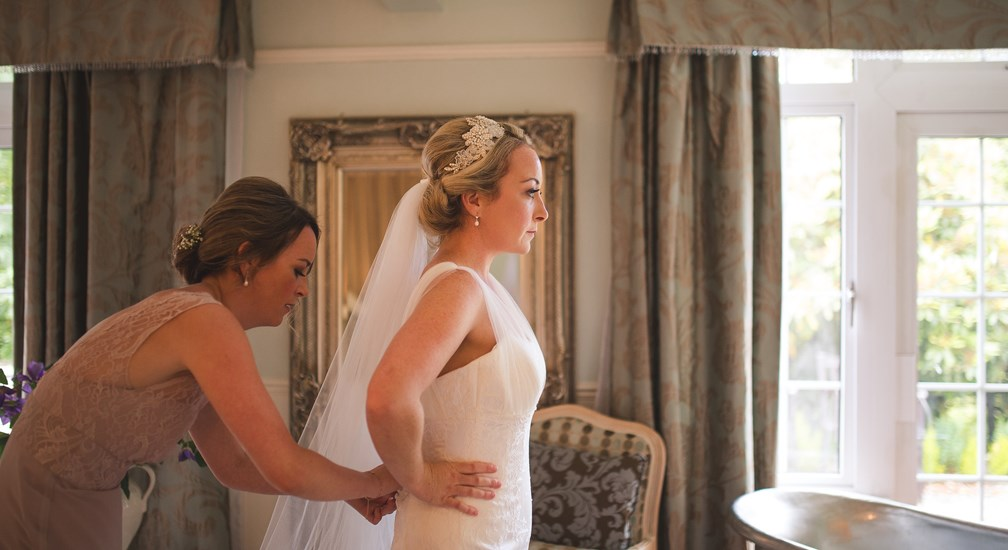 Bride's final preparations for her wedding at The Wild Boar