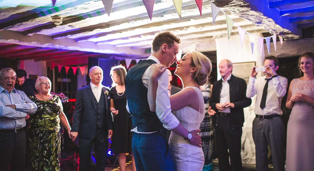 First dance for the married couple after their wedding at The Wild Boar