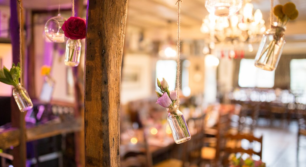 Pretty wedding decorations at The Wild Boar
