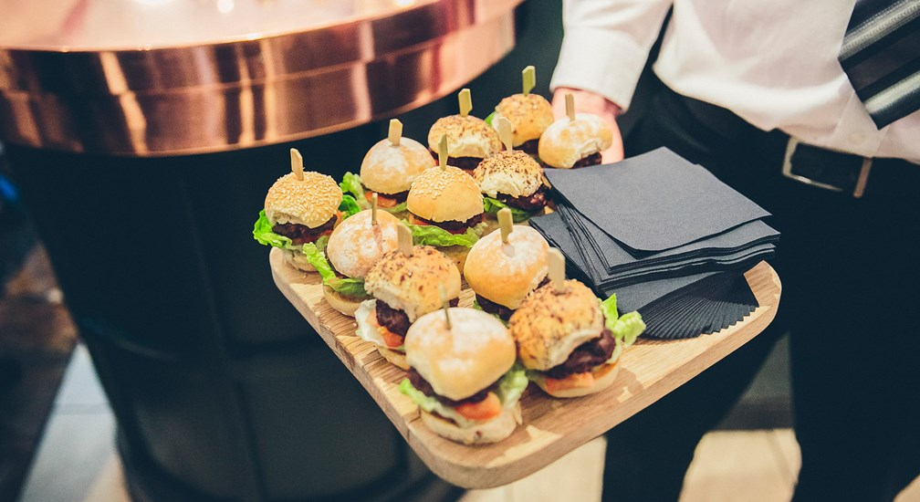 Mini burgers in buns, part of the wedding day celebrations at The Waterhead