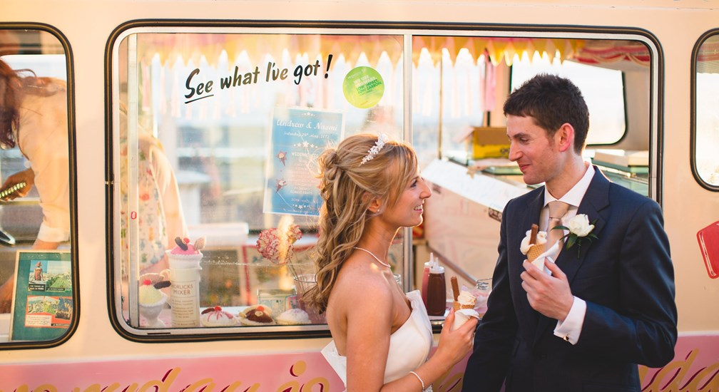 The Bride & Groom enjoying an ice cream, part of their wedding celebrations at The Midland