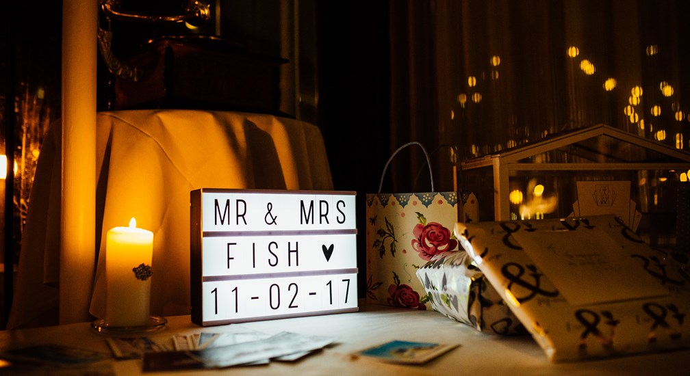 Mr and Mrs Fish Wedding Table Signage - The Midland