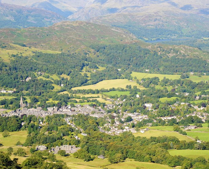 Ambleside town from distance