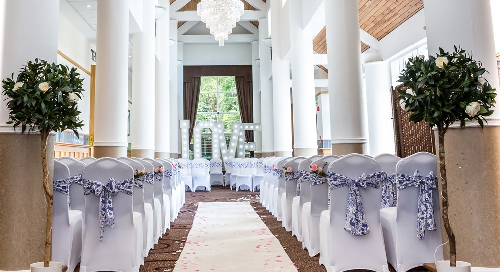 A wedding ceremony in the Low Wood Bay gallery lounge