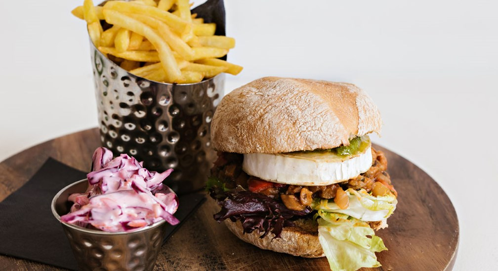 Mediterranean Vegetable and goats cheese burger, Waterhead Bar & Grill