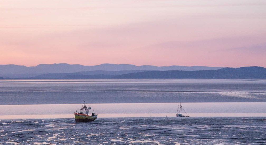 Pink sunset over Morecambe Bay