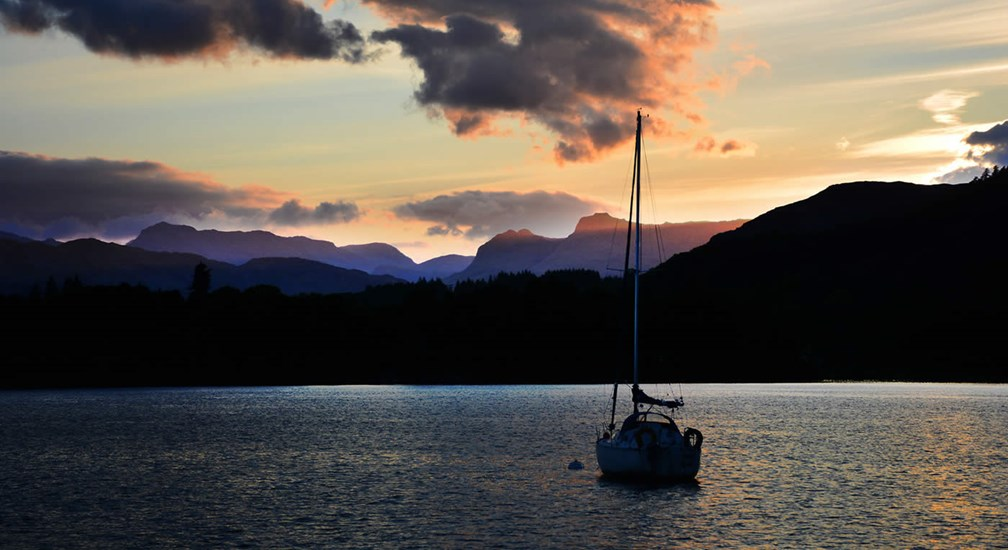 Sunset over Windermere and Langdale Pikes