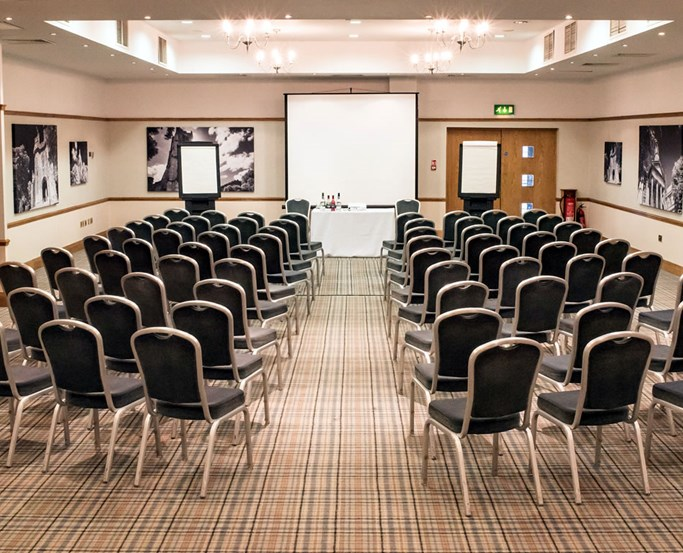 The Bowland Suite conference room at Lancaster House laid out in theatre style