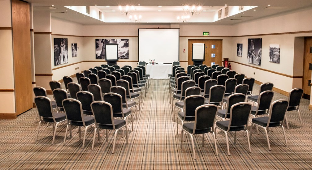 The Bowland Suite conference room at Lancaster House in a theatre style layout