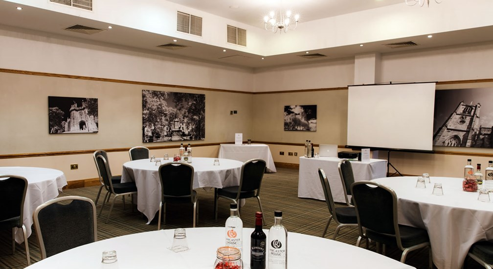 The Bowland Suite conference room in cabaret style layout