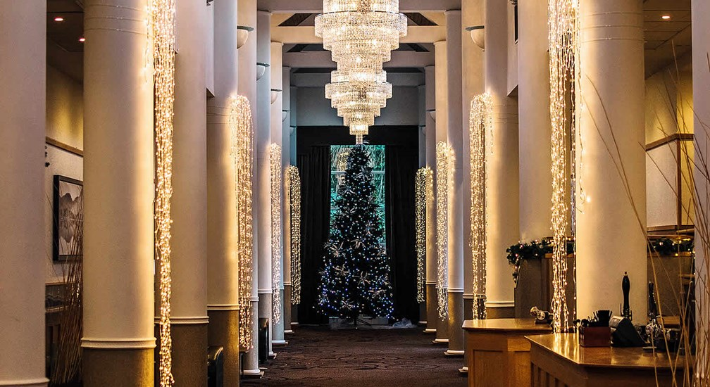 Christmas decorations bedecking the Gallery at Low Wood Bay Resort & Spa