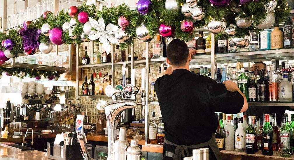 Christmas decorations bedecking the Waterhead's Bar & Grill