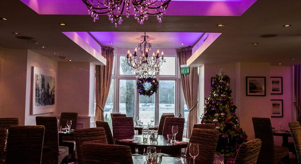 Christmas decorations bedecking the Waterhead's Bar & Grill restaurant