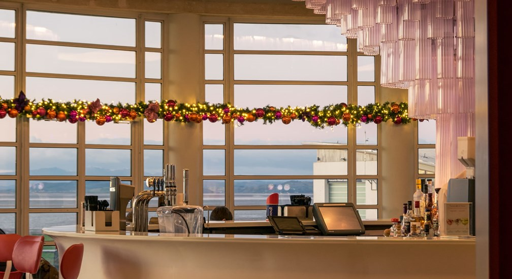 Christmas decorations in The Midland's Rotunda Bar