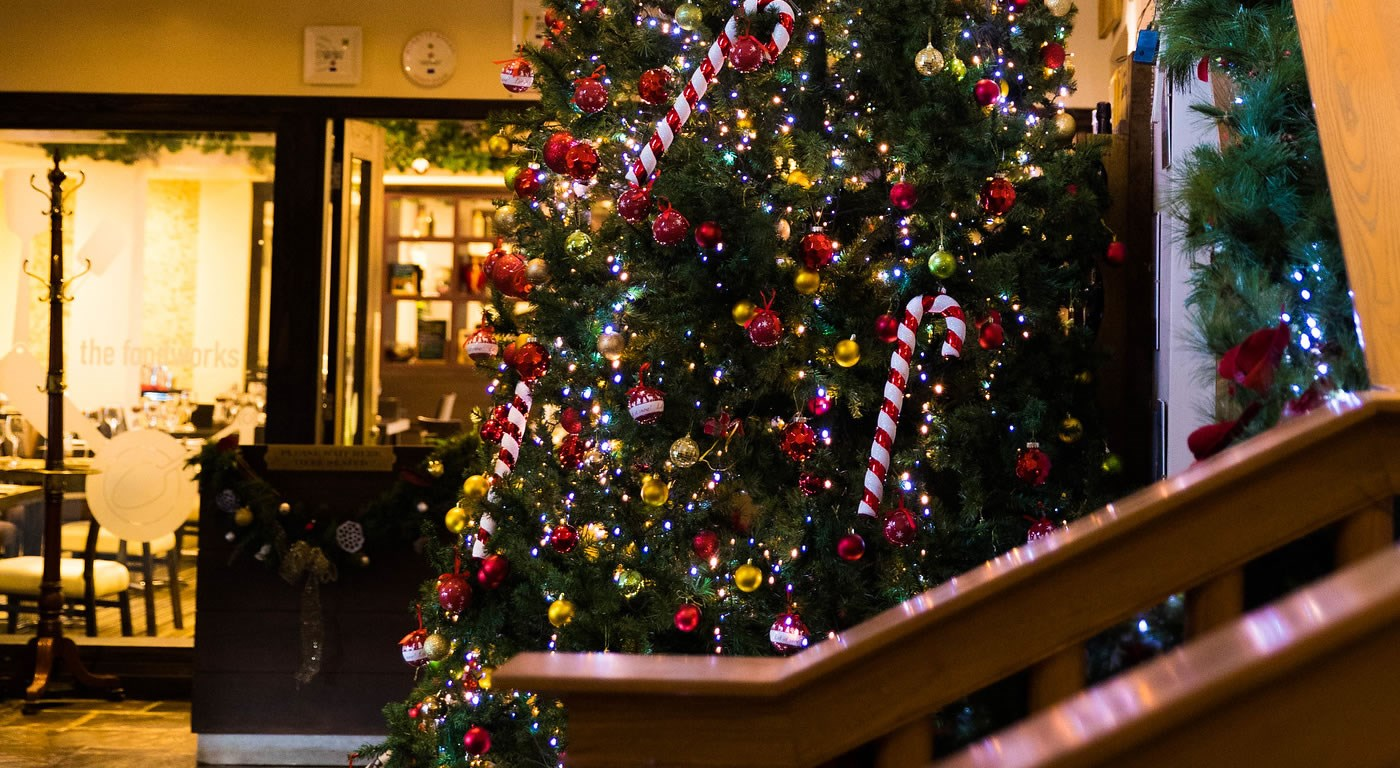 Christmas tree aside the hotel staircase at Lancaster House