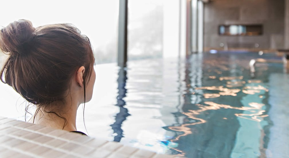 Relaxing in The thermal Indoor Pool at The Spa at Low Wood Bay Resort & Spa
