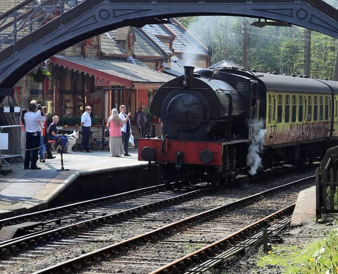 A steam engine on the popular Lakeside and Haverthwaite steam railway line.