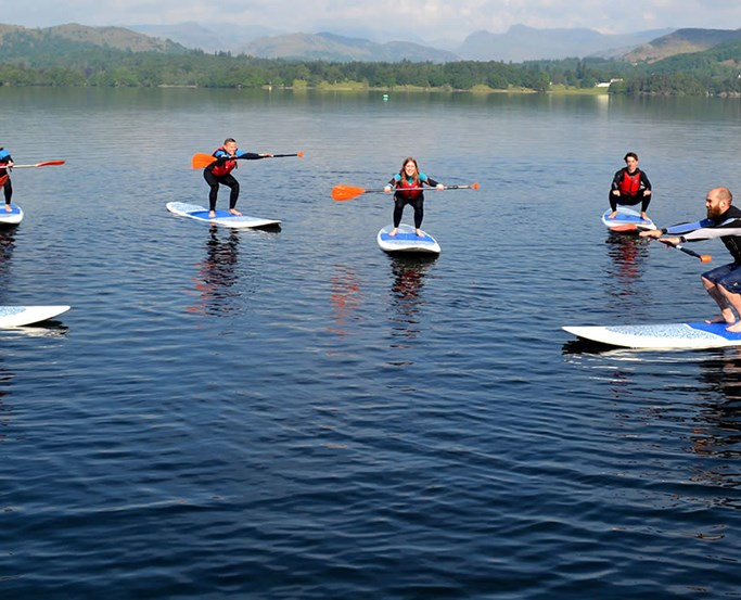 Paddle Boarding Class on Windermere at Low Wood Bay Watersports Centre