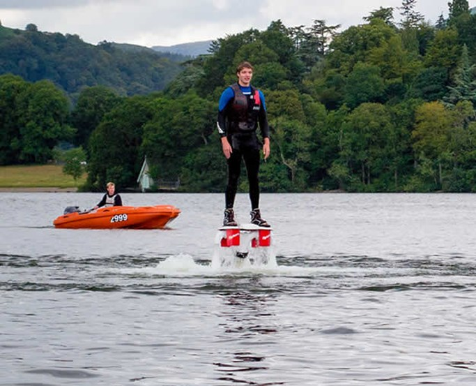 Flyboarding on lake Windermere with the Watersports Centre at Low Wood Bay Resort & Spa