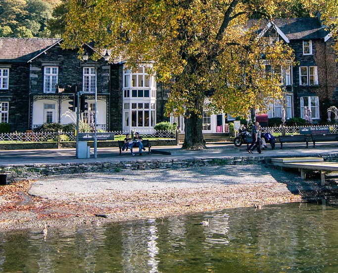 The Waterhead hotel, near Ambleside, from the jetty in autumn