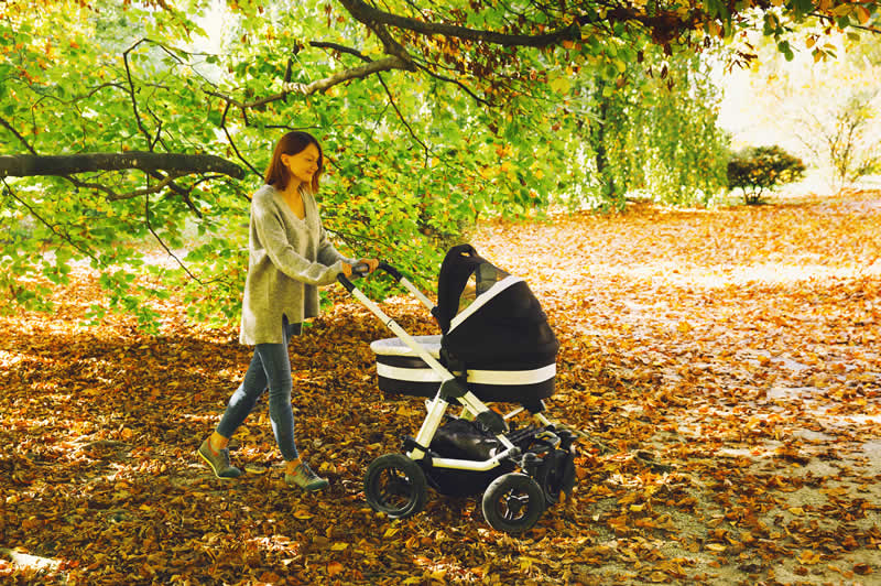Push chair on a wooded path