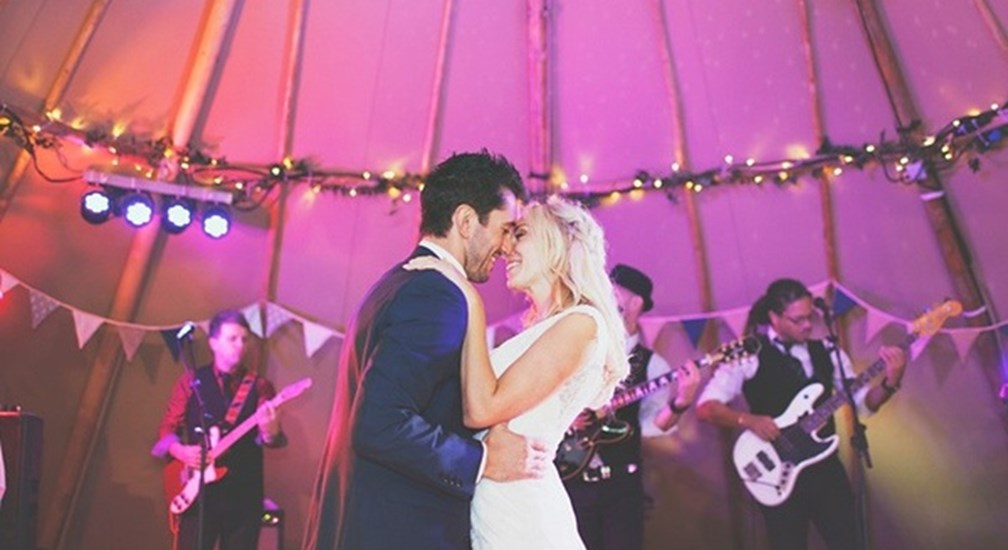 Wedding Couple in Tipi