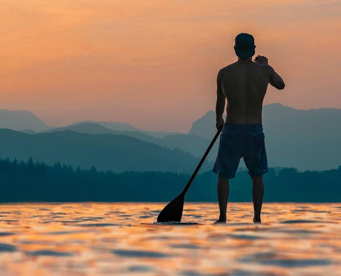 Paddleboarding on lake Windermere from Low Wood Bay